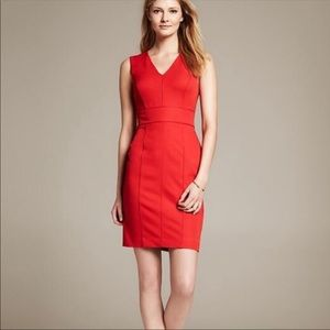Banana Republic V-neck sheath dress in true red